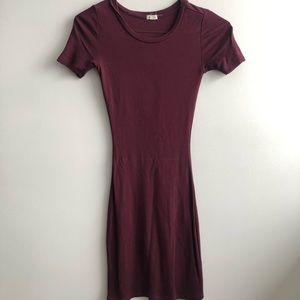 Garage Short Sleeve Burgundy Bodycon Dress